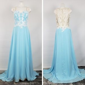 Dresses & Skirts - Baby Blue White & Nude Lace Gown Size 12